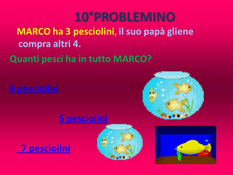 10°PROBLEMINO MARCO ha 3 pesciolini, il suo papà gliene compra altri 4. Quanti pesci ha in tutto MARCO