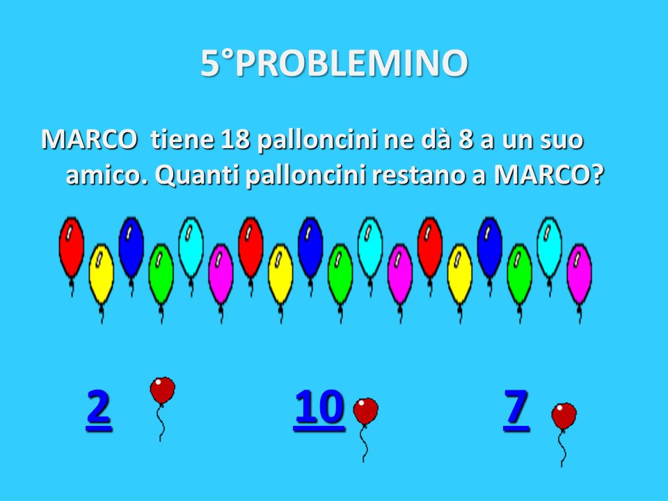 5°PROBLEMINO MARCO tiene 18 palloncini ne dà 8 a un suo amico.