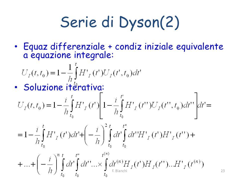 Serie di Dyson(2) Equaz differenziale + condiz iniziale equivalente a equazione integrale: Soluzione iterativa: