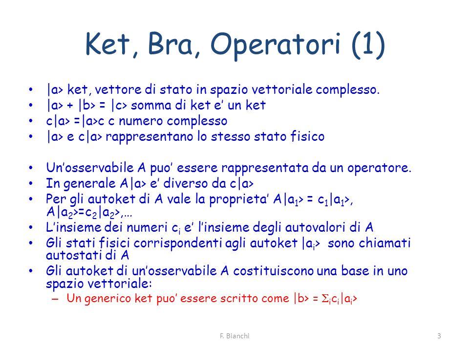 Ket, Bra, Operatori (1) |a> ket, vettore di stato in spazio vettoriale complesso. |a> + |b> = |c> somma di ket e' un ket.