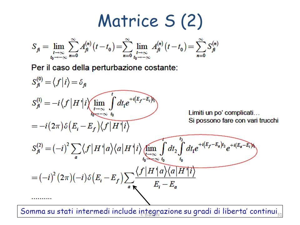 Matrice S (2) Somma su stati intermedi include integrazione su gradi di liberta' continui.
