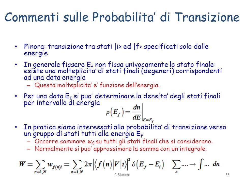 Commenti sulle Probabilita' di Transizione