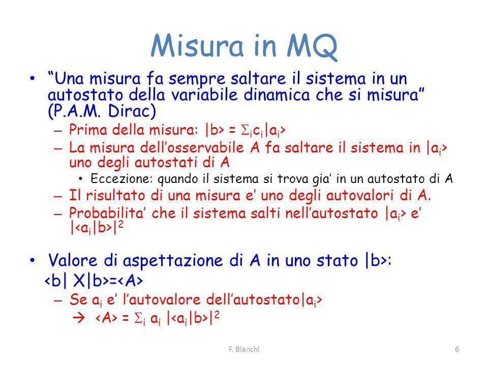 Misura in MQ Una misura fa sempre saltare il sistema in un autostato della variabile dinamica che si misura (P.A.M. Dirac)