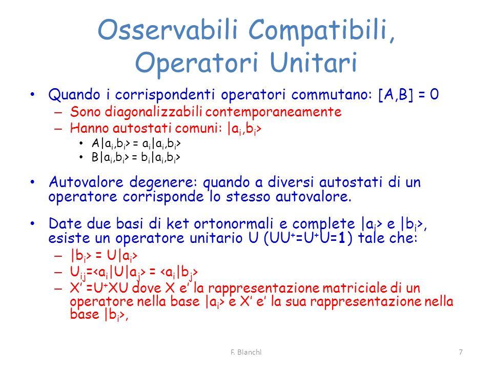 Osservabili Compatibili, Operatori Unitari