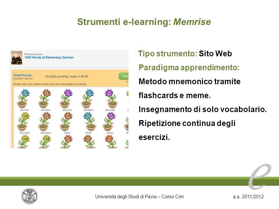 Strumenti e-learning: Memrise Tipo strumento: Sito Web
