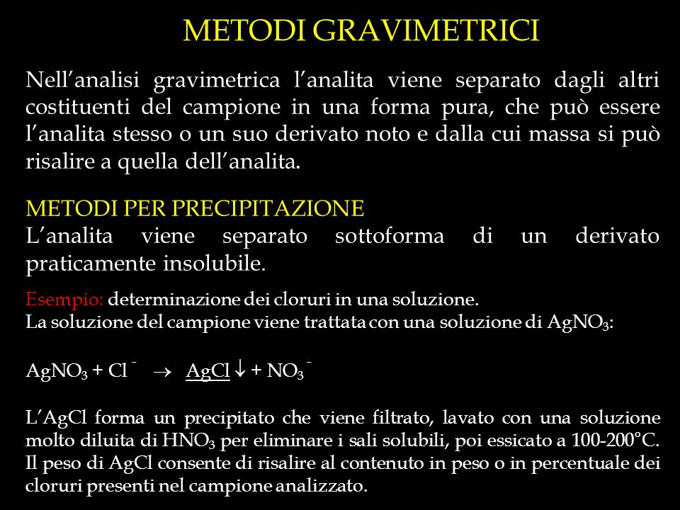 METODI GRAVIMETRICI