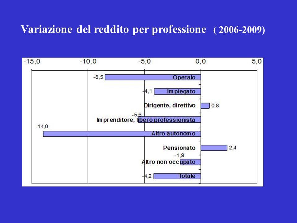 Variazione del reddito per professione ( 2006-2009)
