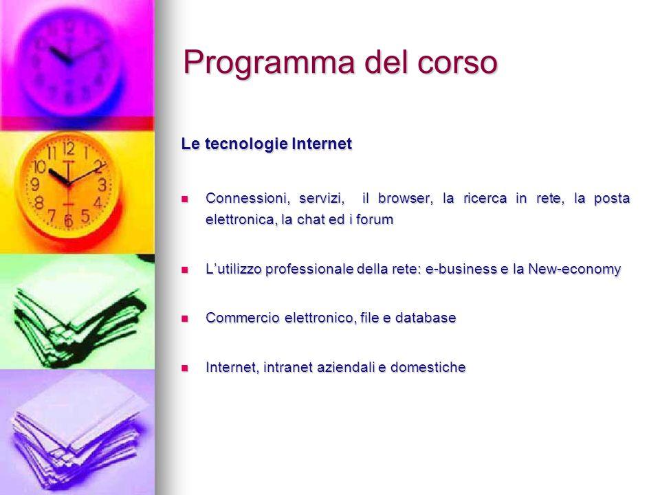 Programma del corso Le tecnologie Internet