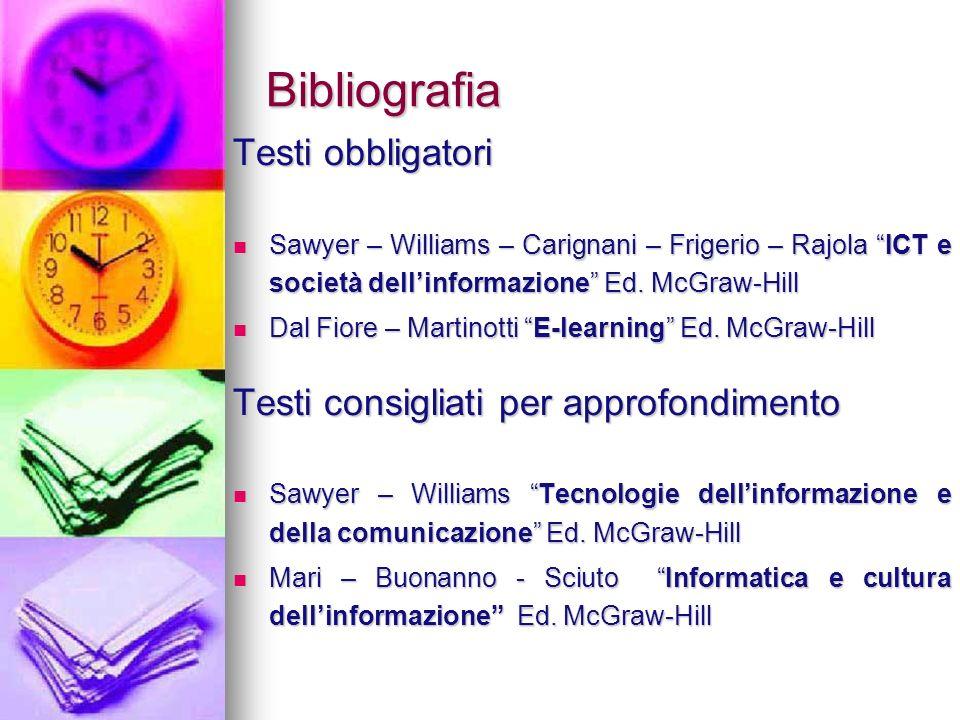 Bibliografia Testi obbligatori Testi consigliati per approfondimento