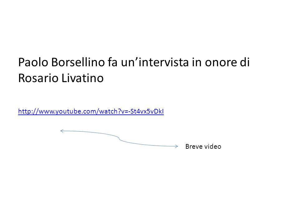 Paolo Borsellino fa un'intervista in onore di Rosario Livatino