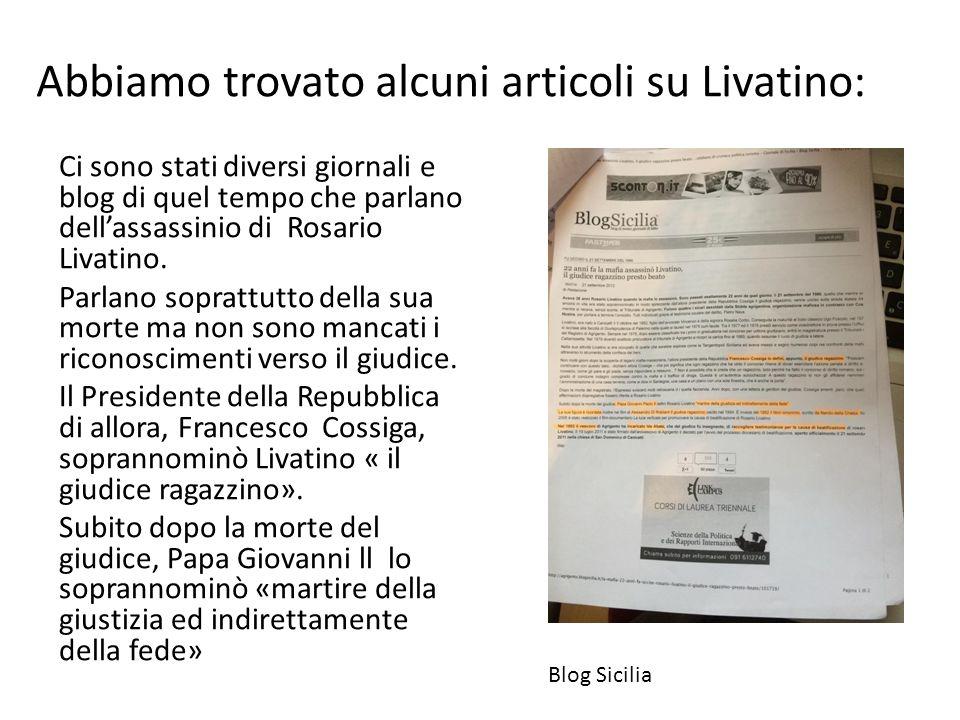Abbiamo trovato alcuni articoli su Livatino: