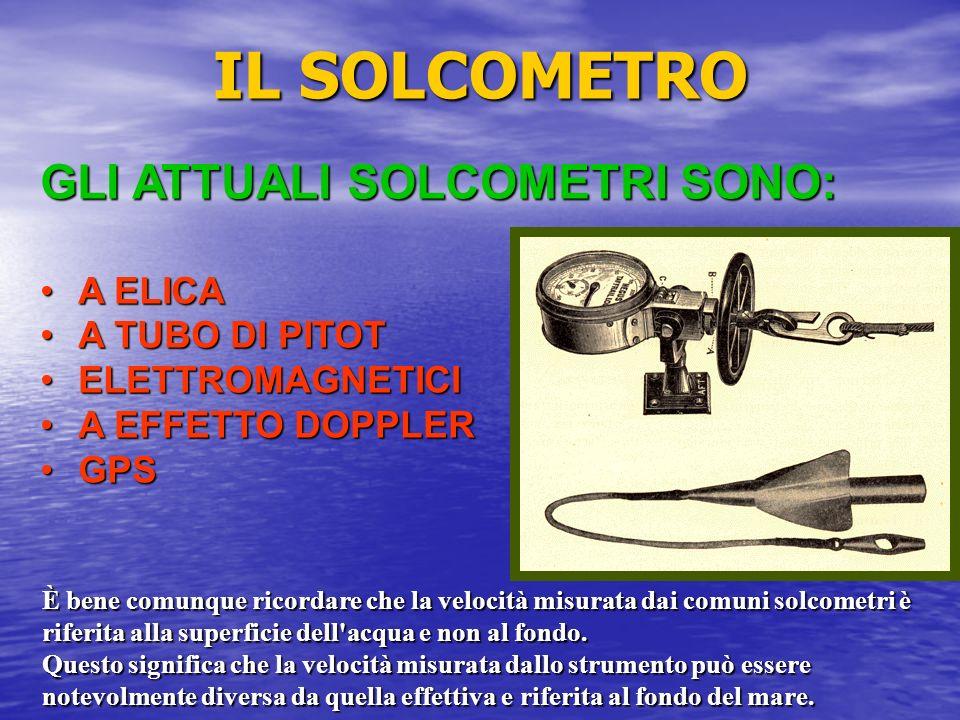 IL SOLCOMETRO GLI ATTUALI SOLCOMETRI SONO: A ELICA A TUBO DI PITOT