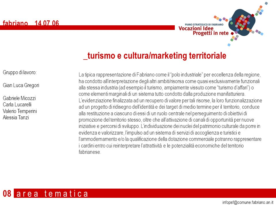 _turismo e cultura/marketing territoriale