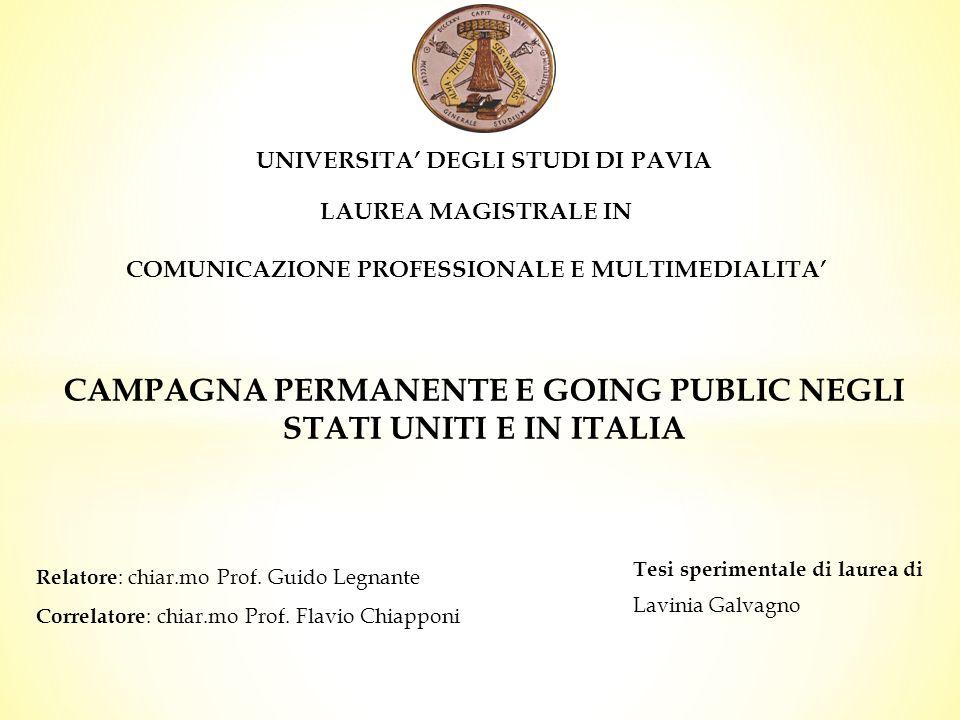CAMPAGNA PERMANENTE E GOING PUBLIC NEGLI STATI UNITI E IN ITALIA