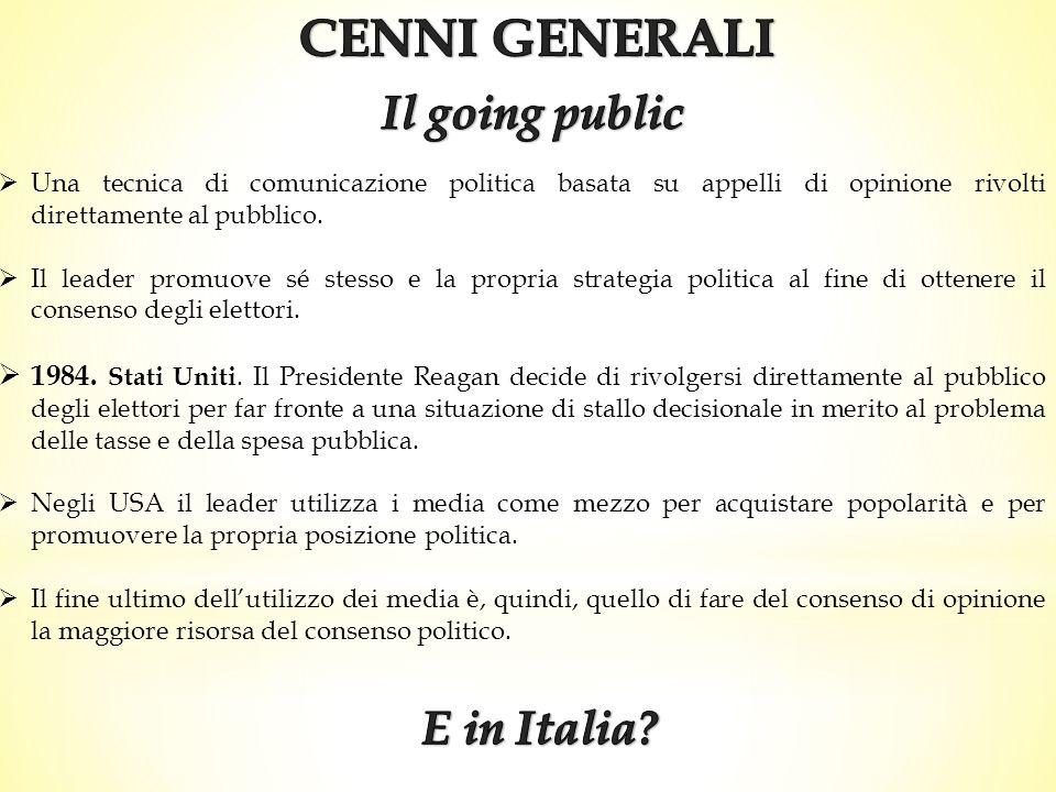 CENNI GENERALI Il going public E in Italia
