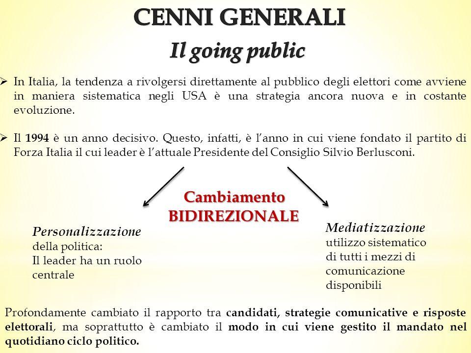 CENNI GENERALI Il going public Cambiamento BIDIREZIONALE
