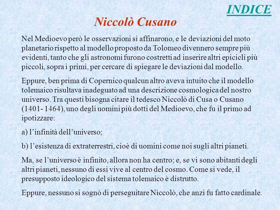 INDICE Niccolò Cusano.