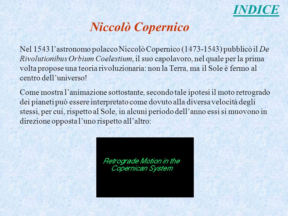 INDICE Niccolò Copernico