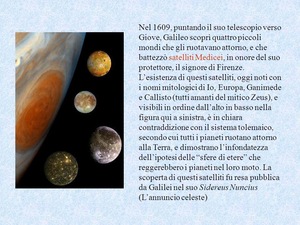 Nel 1609, puntando il suo telescopio verso Giove, Galileo scoprì quattro piccoli mondi che gli ruotavano attorno, e che battezzò satelliti Medicei, in onore del suo protettore, il signore di Firenze.