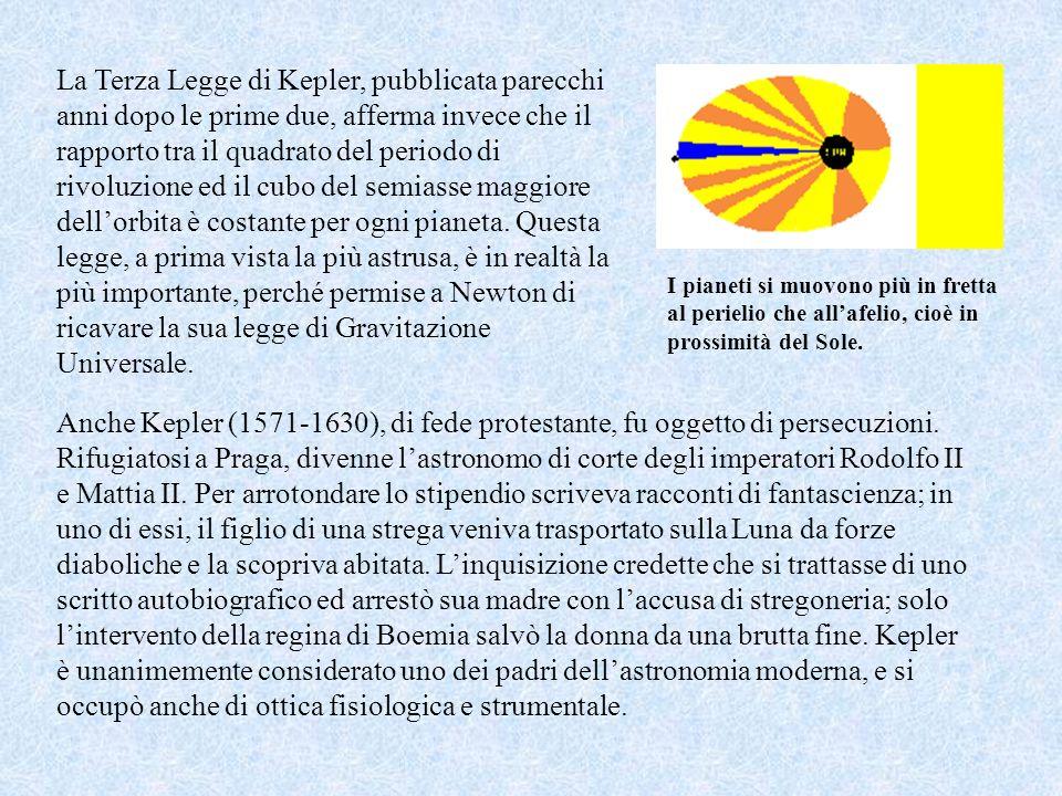 La Terza Legge di Kepler, pubblicata parecchi anni dopo le prime due, afferma invece che il rapporto tra il quadrato del periodo di rivoluzione ed il cubo del semiasse maggiore dell'orbita è costante per ogni pianeta. Questa legge, a prima vista la più astrusa, è in realtà la più importante, perché permise a Newton di ricavare la sua legge di Gravitazione Universale.