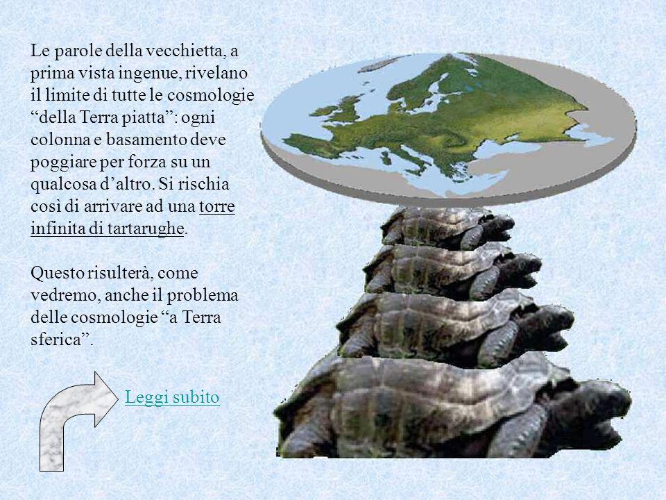 Le parole della vecchietta, a prima vista ingenue, rivelano il limite di tutte le cosmologie della Terra piatta : ogni colonna e basamento deve poggiare per forza su un qualcosa d'altro. Si rischia così di arrivare ad una torre infinita di tartarughe.