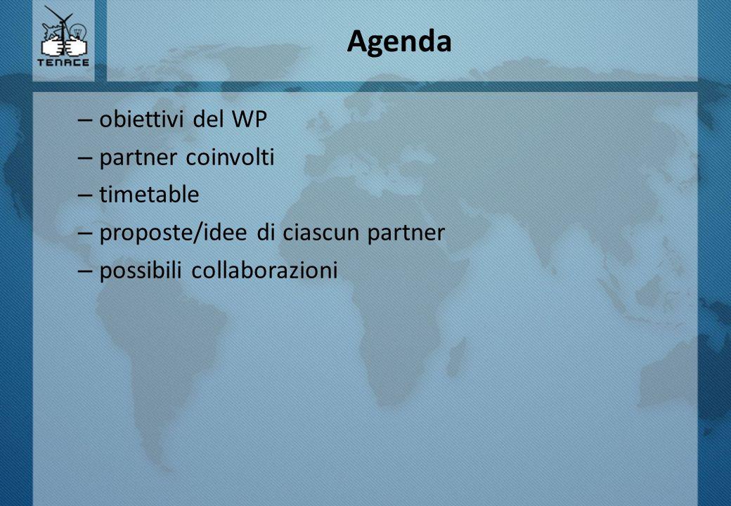Agenda obiettivi del WP partner coinvolti timetable