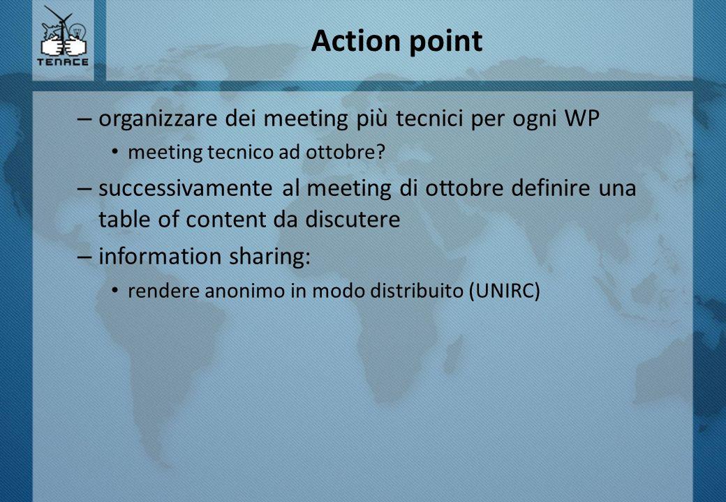 Action point organizzare dei meeting più tecnici per ogni WP