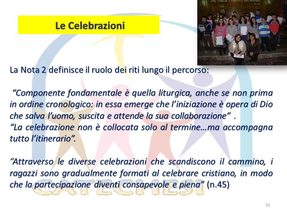 Le Celebrazioni La Nota 2 definisce il ruolo dei riti lungo il percorso: