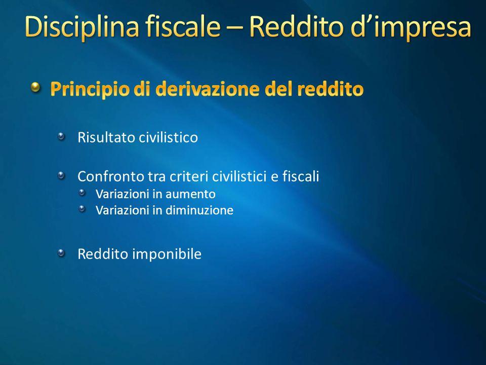 Disciplina fiscale – Reddito d'impresa