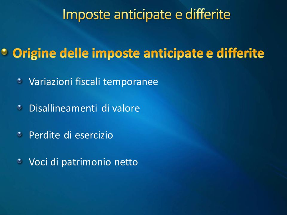 Imposte anticipate e differite