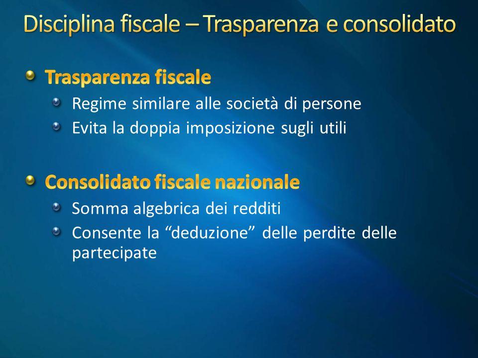 Disciplina fiscale – Trasparenza e consolidato