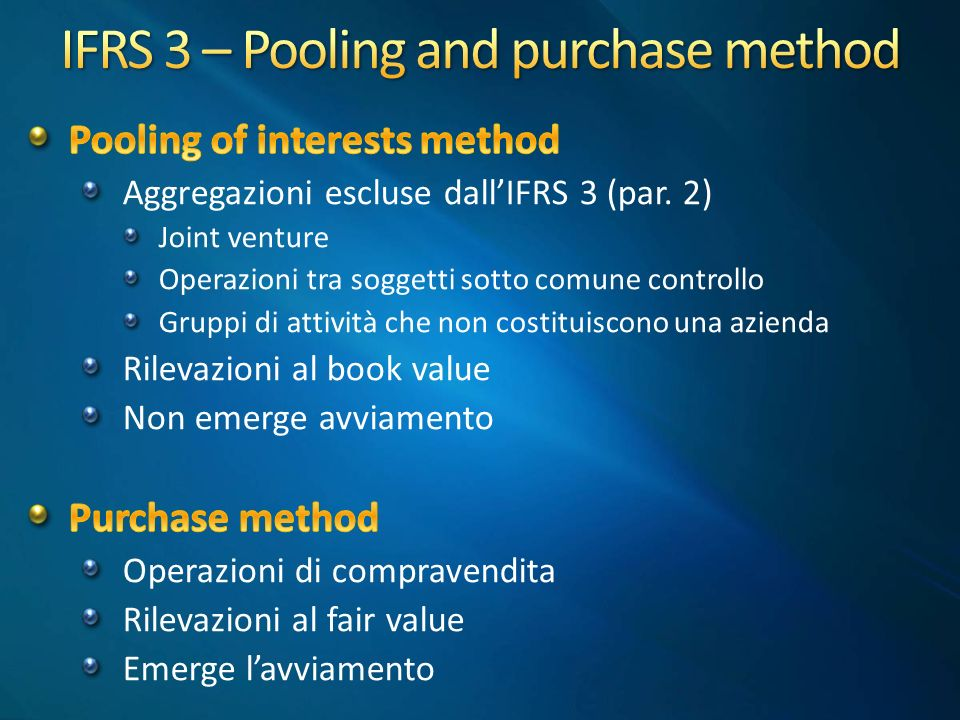 IFRS 3 – Pooling and purchase method