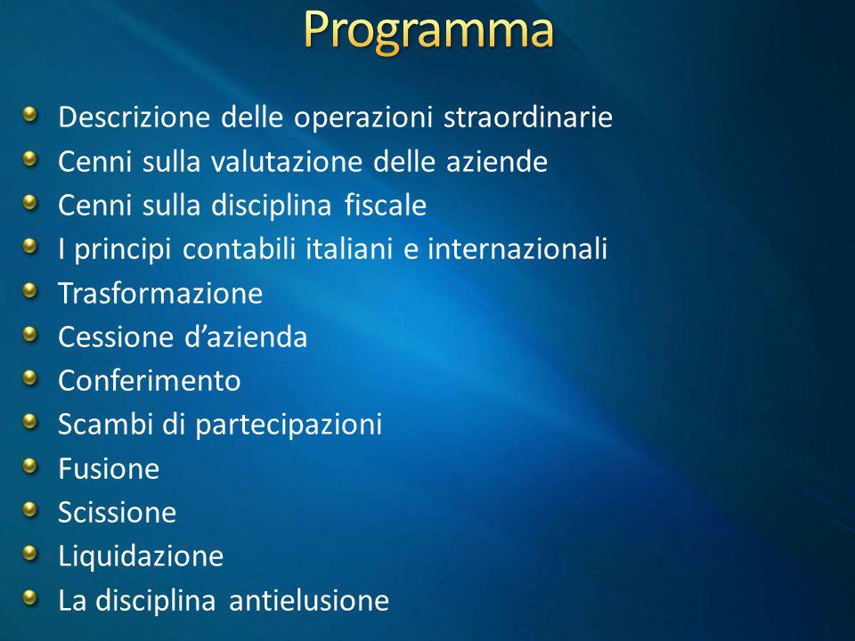 Programma Descrizione delle operazioni straordinarie