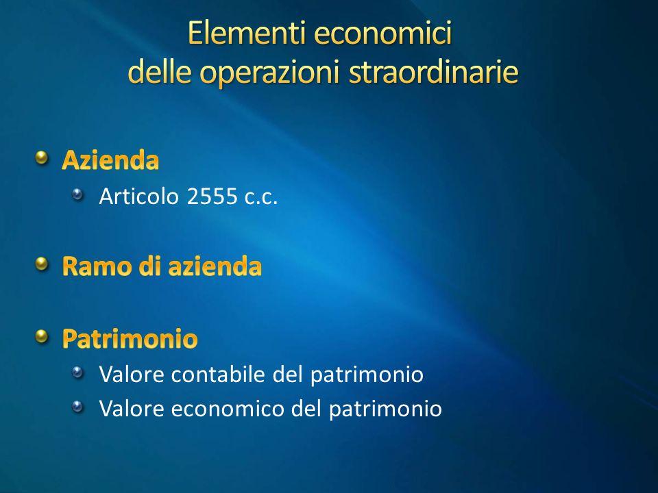 Elementi economici delle operazioni straordinarie