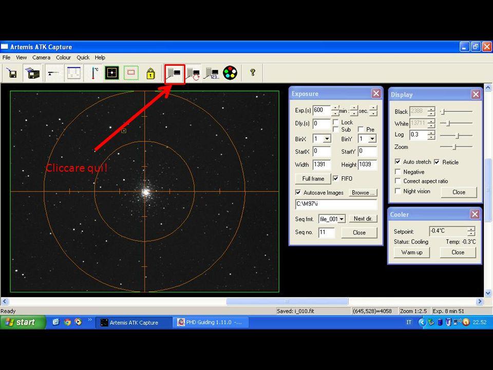 Cliccare qui! Cliccare sull'icona della CCD per riprendere un singolo scatto di prova.