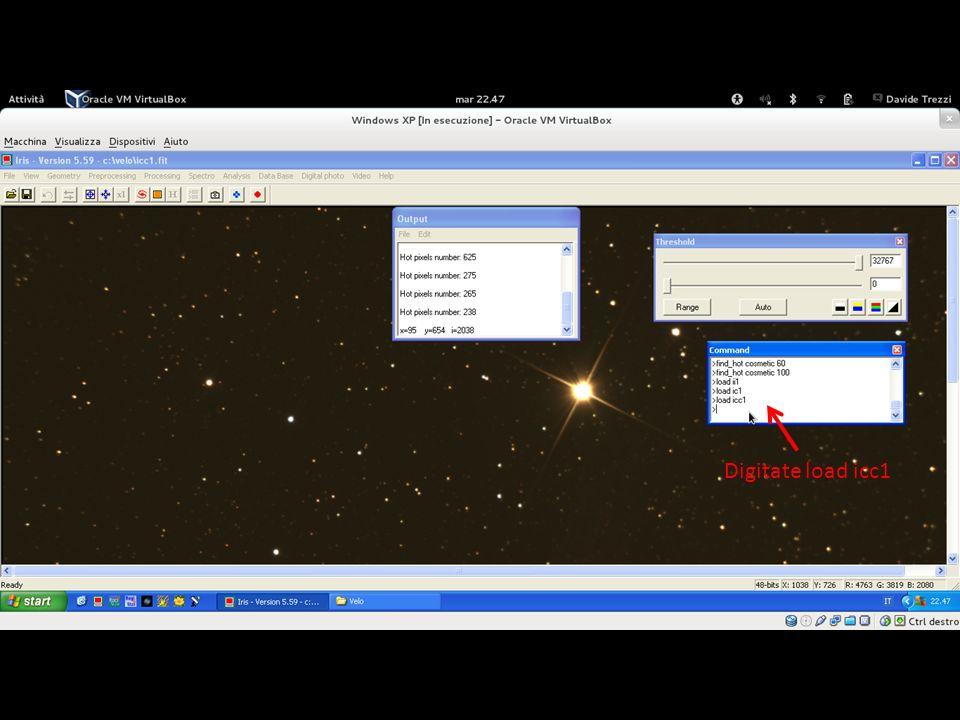 Ecco che il computer elaborerà le vostre immagini calibrate trasformandole a Colori. A questo punto, nuovamente nel terminale digitate load icc1 al fine di aprire la prima immagine calibrata ed a colori.