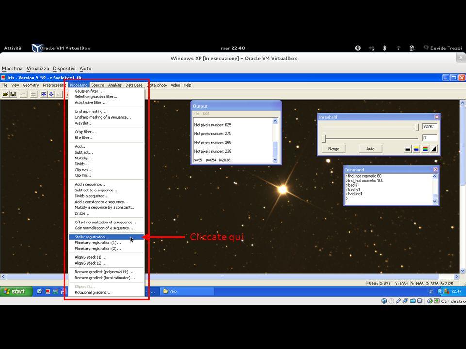 Andate quindi su «Processing» e cliccate su «Stellar registration…»