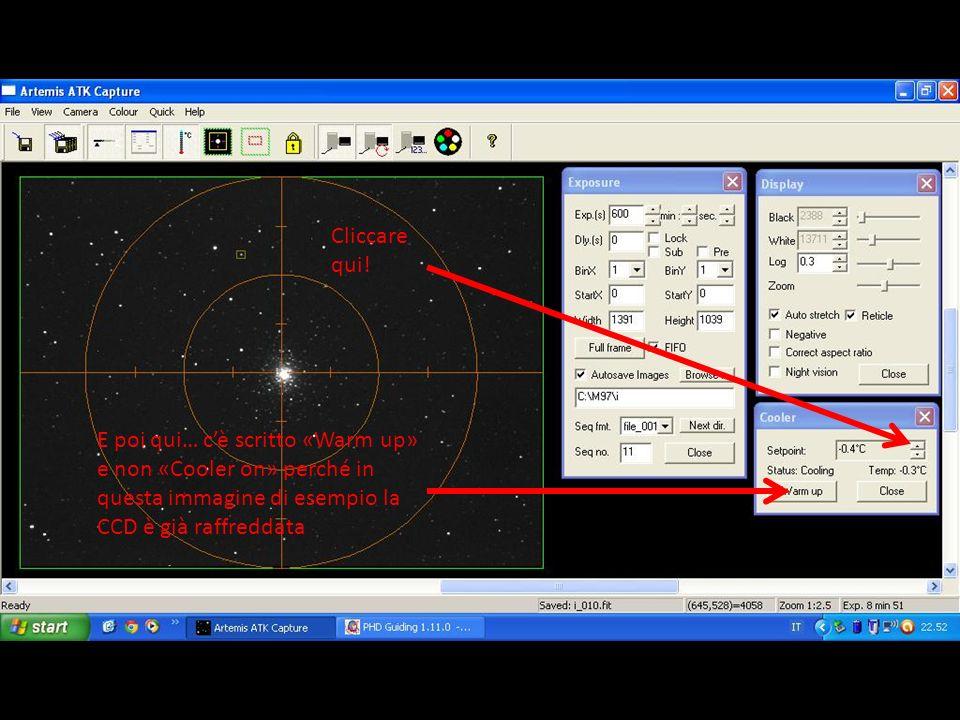 Cliccare qui! E poi qui… c'è scritto «Warm up» e non «Cooler on» perché in questa immagine di esempio la CCD è già raffreddata.