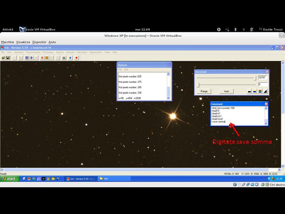 Il computer vi sommerà le immagini calibrate, a colori ed allineate ottenendo il risultato finale. Finito il processo di calcolo, digitate al terminale save somma, per salvare l'immagine finale.
