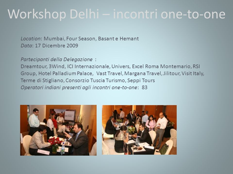 Workshop Delhi – incontri one-to-one