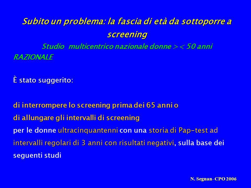 Subito un problema: la fascia di età da sottoporre a screening
