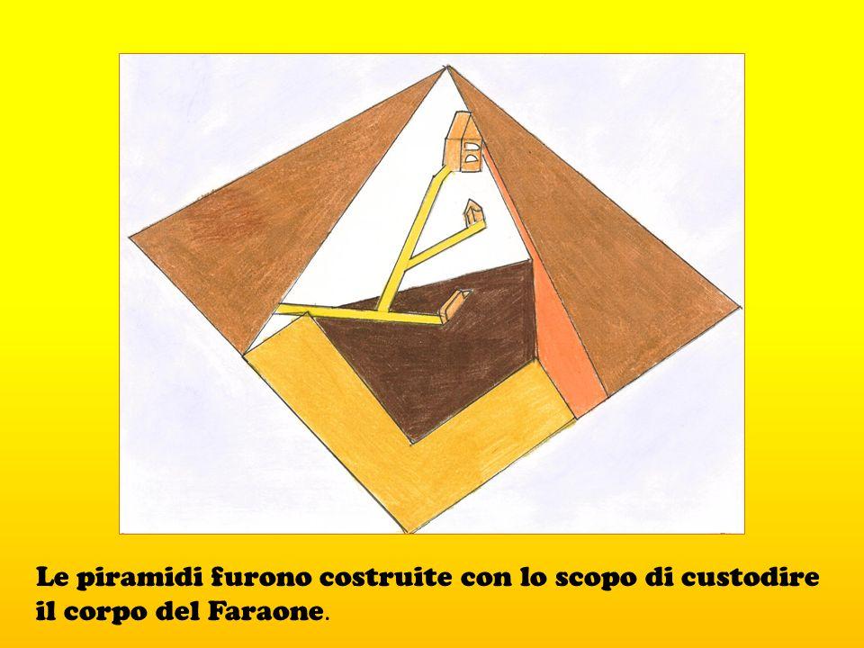 Le piramidi furono costruite con lo scopo di custodire il corpo del Faraone.