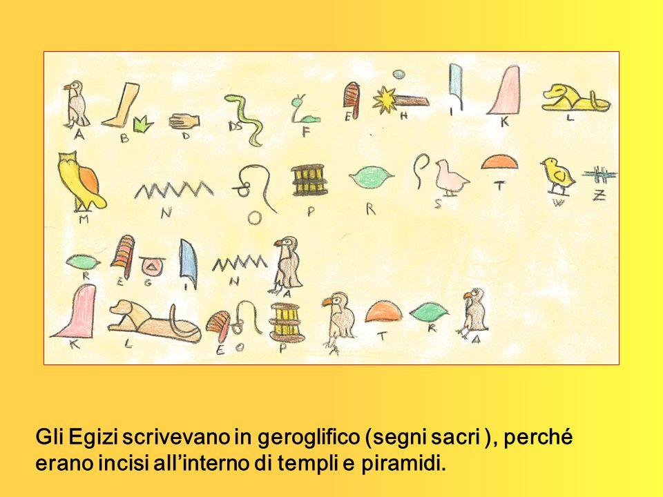 Gli Egizi scrivevano in geroglifico (segni sacri ), perché erano incisi all'interno di templi e piramidi.