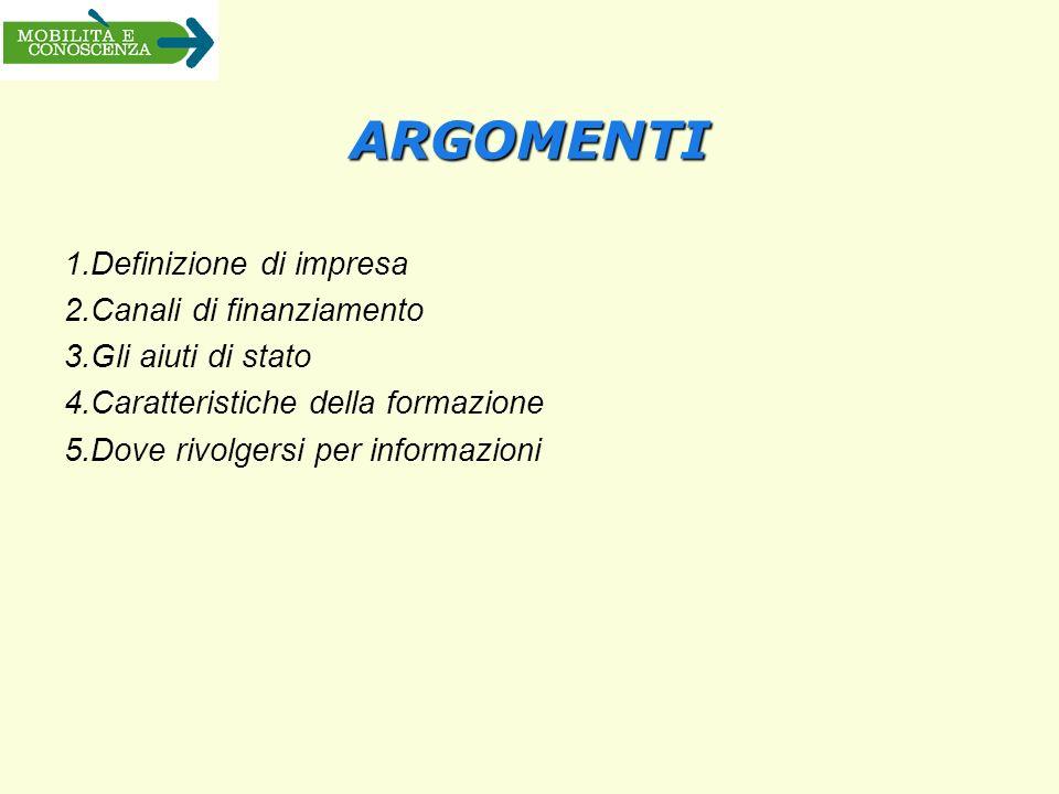 ARGOMENTI 1.Definizione di impresa 2.Canali di finanziamento