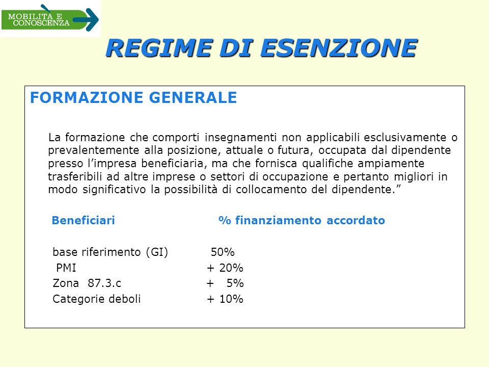 REGIME DI ESENZIONE FORMAZIONE GENERALE