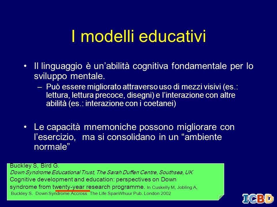 I modelli educativiIl linguaggio è un'abilità cognitiva fondamentale per lo sviluppo mentale.