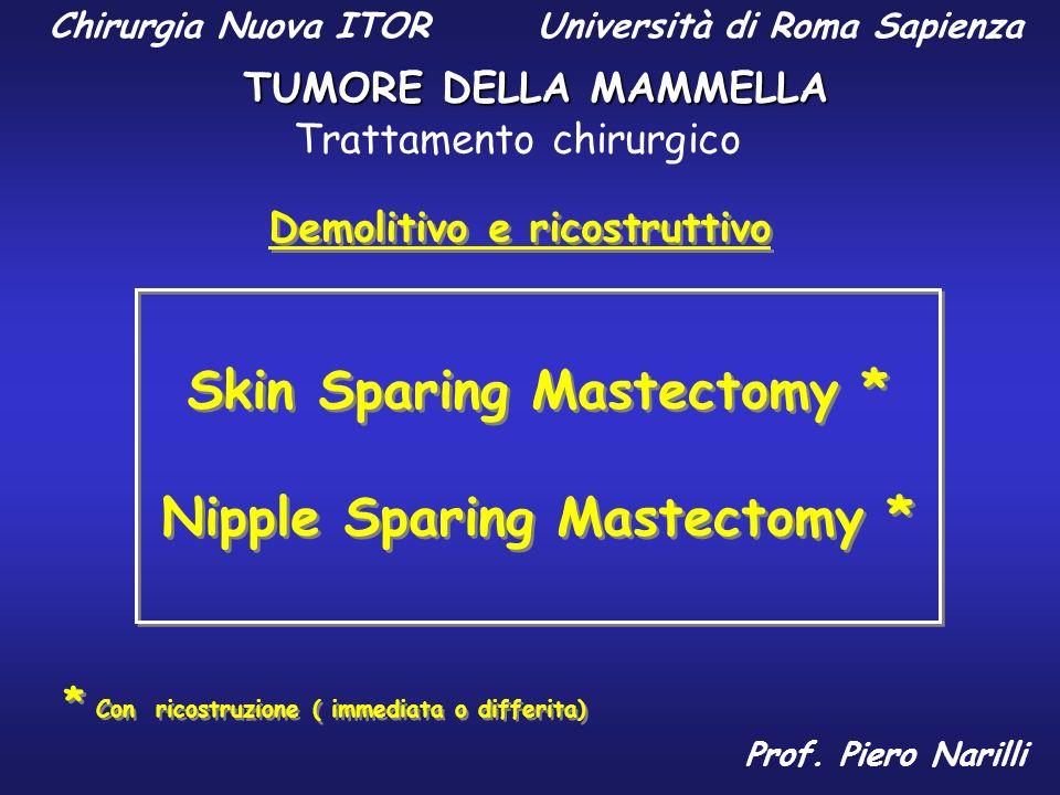 Skin Sparing Mastectomy * Nipple Sparing Mastectomy *