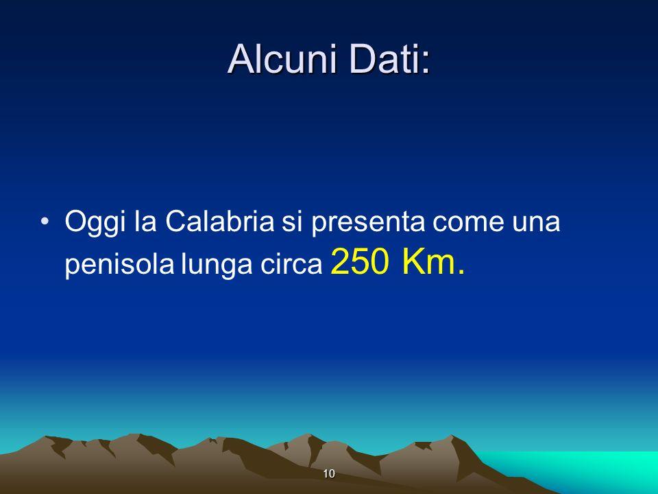 Alcuni Dati: Oggi la Calabria si presenta come una penisola lunga circa 250 Km. 10