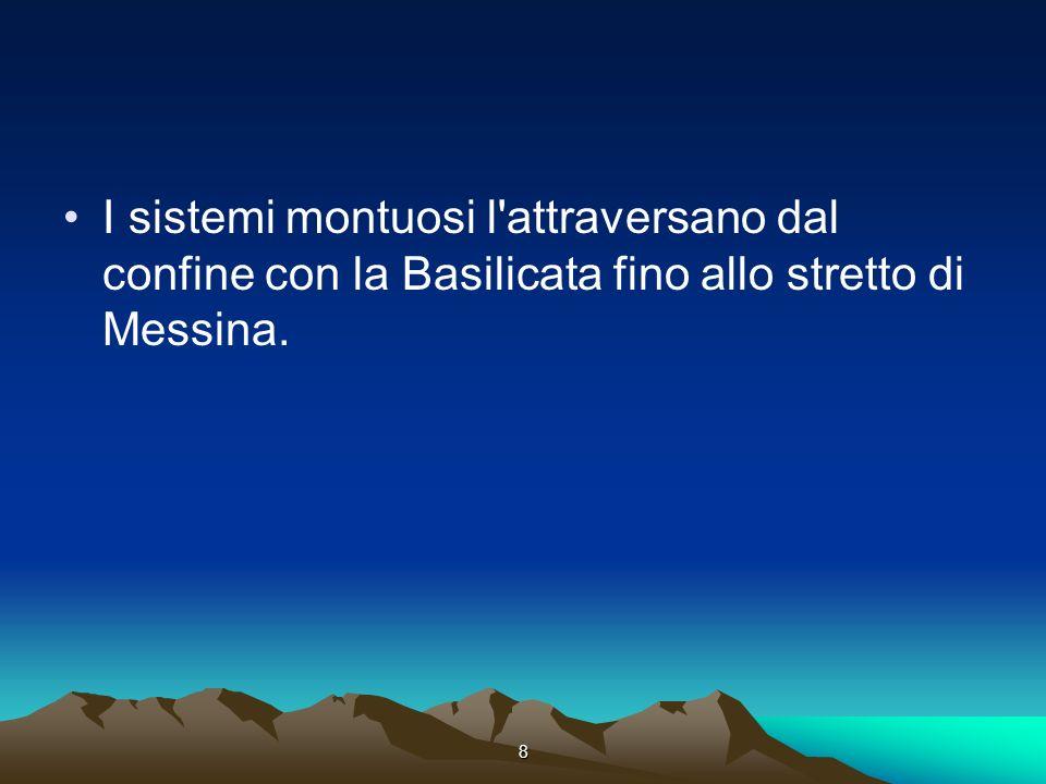 I sistemi montuosi l attraversano dal confine con la Basilicata fino allo stretto di Messina.