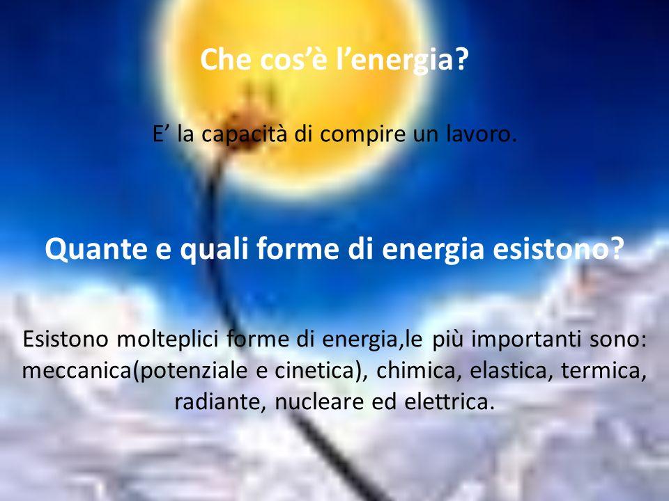 Quante e quali forme di energia esistono